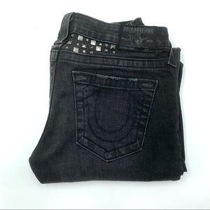 True Religion Low Rise Black Boot Cut Jeans